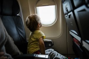 Child on airplane