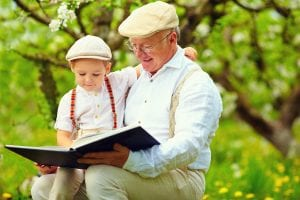 Grandparent reading to grandchild