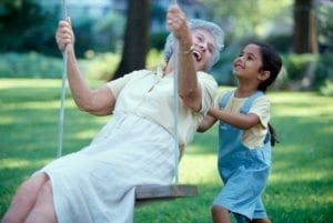 Grandma on swing with child