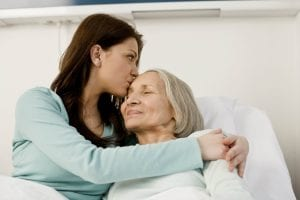 Woman kissing older mother