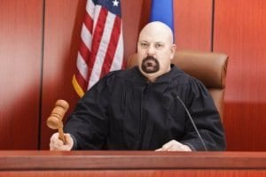 Judge on bench