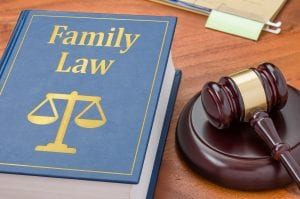 Family law book and gavel
