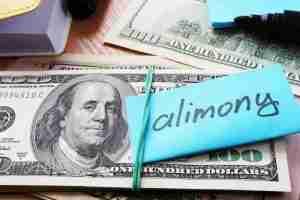 Hundred dollar bills with alimony label
