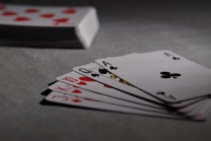 cards on blackjack table